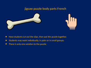 FRENCH body parts jigsaw puzzle