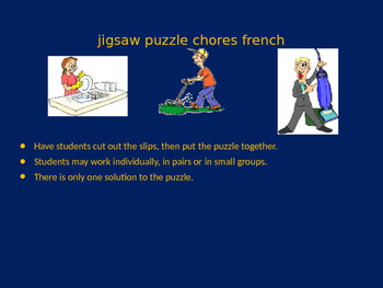FRENCH chores jigsaw puzzle