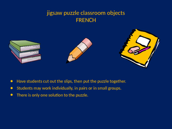 FRENCH classroom objects jigsaw puzzle