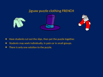 FRENCH clothing jigsaw puzzle