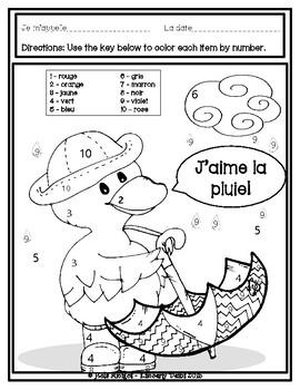 FRENCH colors - J'aime la pluie! Five color by number sheets