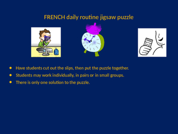 FRENCH daily routine jigsaw puzzle