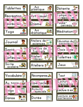 FRENCH schedule cards - Horaire du jour / Menu du jour  (120 CARDS)