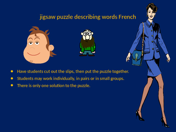FRENCH descriptive adjectives jigsaw puzzle