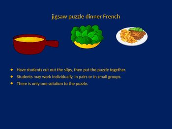 FRENCH dinner jigsaw puzzle