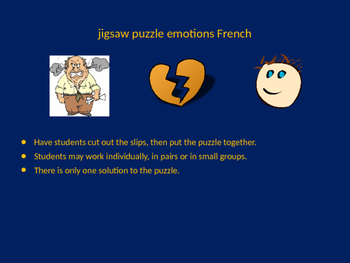 FRENCH emotions jigsaw puzzle