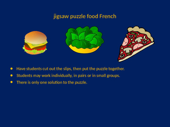 FRENCH food jigsaw puzzle