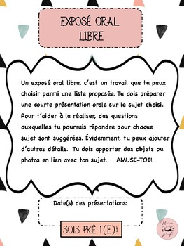 FRENCH free oral communication fun choices / Exposé oral libre choix amusants
