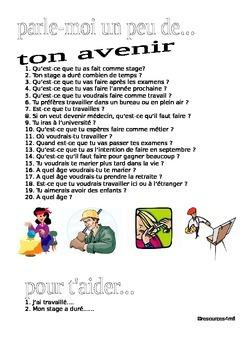 FRENCH - future- speaking practice PARLE-MOI UN PEU....DE TON AVENIR