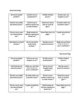 FRENCH future tense human bingo