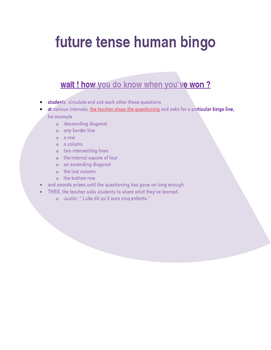 FRENCH future tense human bingo