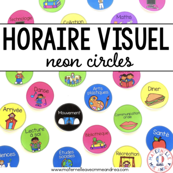 FRENCH schedule cards (horaire visuel) - partially EDITABLE neon circles