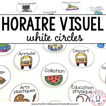 FRENCH schedule cards (horaire visuel) - partially EDITABLE white circles