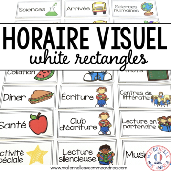 FRENCH schedule cards (horaire visuel) - Partially EDITABLE white rectangles
