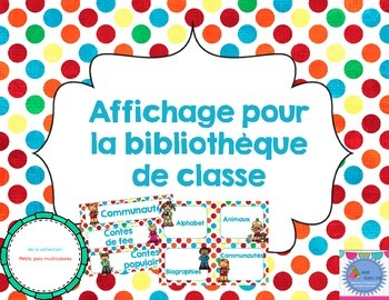 FRENCH library labels-Colourful Polka dots EDITABLE