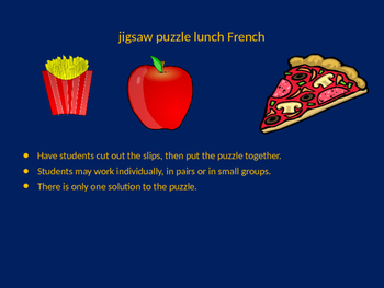 FRENCH lunch jigsaw puzzle