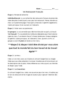 FRENCH menu writing project - Individual and group work (if you want) NO PREP