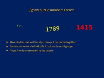 FRENCH numbers jigsaw puzzle
