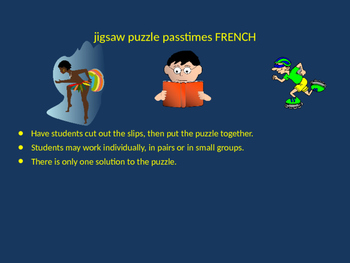 FRENCH passtimes jigsaw puzzle