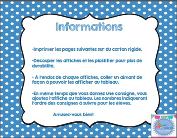 FRENCH pictures direction icons posters/ Affiches des consignes en français