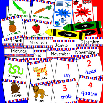 FRENCH posters and flash cards- colours, animals, fruit, numbers, days, months