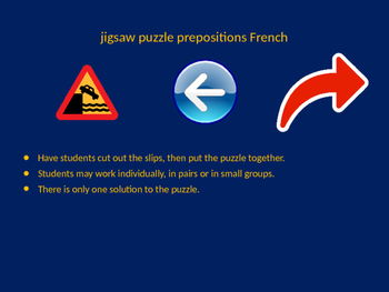 FRENCH prepositions jigsaw puzzle