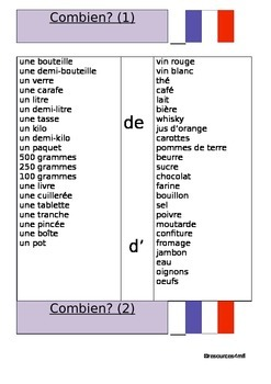 FRENCH - WORKSHEETS- Combien? - quantities of food and drink