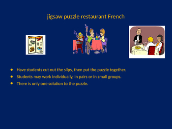 FRENCH restaurant words jigsaw puzzle