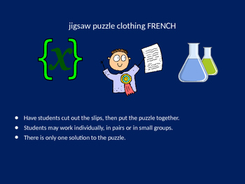 FRENCH school subjects jigsaw puzzle