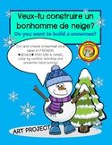 FRENCH winter snowman craftivity+4 color by number & label body parts worksheet