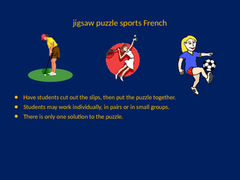 FRENCH sports jigsaw puzzle