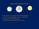 FRENCH telling time jigsaw puzzle