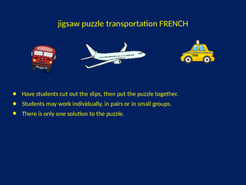 FRENCH transportation jigsaw puzzle