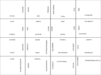 FRENCH travel vocab jigsaw puzzle