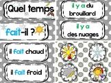 """FRENCH weather flashcards / Étiquettes """"Le temps"""" QUEL TEM"""