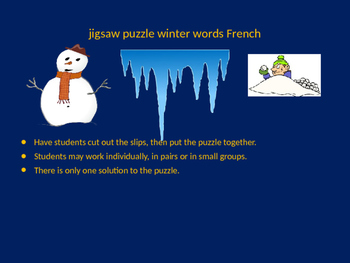 FRENCH winter words jigsaw puzzle