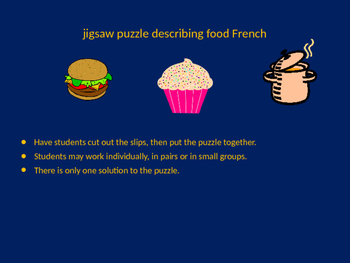 FRENCH words to describe food jigsaw puzzle
