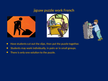 FRENCH world of work jigsaw puzzle
