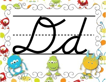 FRENCH/Classroom decor pack/Les monstres (alphabet poster cursif 1)