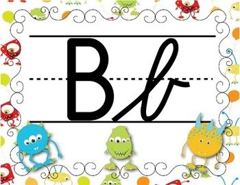 FRENCH/Classroom decor pack/Les monstres (alphabet poster cursif 2)