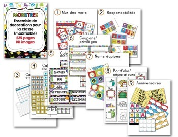 FRENCH/Classroom decor pack/Les monstres (ensemble complet)