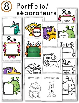 FRENCH/Classroom decor pack/Les monstres (portfolio/séparateurs)