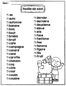 FRENCH/Le mot-vedette du jour 2e année (noms A à F)/liste orthographique 2014