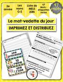 FRENCH/Le mot-vedette du jour (noms G à Z)/liste orthographique 2014