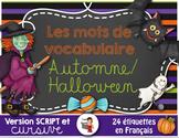 FRENCH VOCABULARY CARDS HALLOWEEN - AUTOMNE - Mots de vocabulaire -