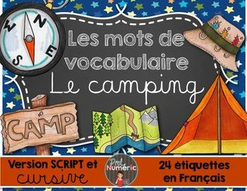 Le camping /24 mots-étiquettes (SCRIPT et CURSIF)