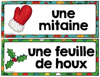 Noël/Fête de Noël - 24 Mots-étiquettes (script et cursif)