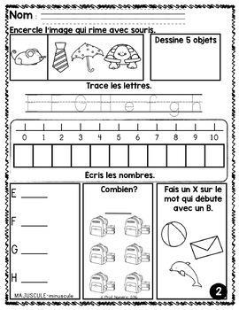 Cahier d'activités à imprimer SEPTEMBRE {MORNING WORK}