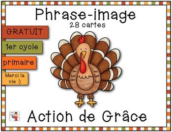Action de Grâce - Associe la phrase à l'image {FREEBIE}