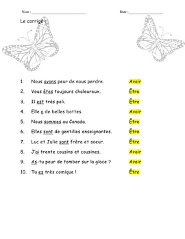 FRENCH_ Grammar_ verbes AVOIR and ETRE + KEY